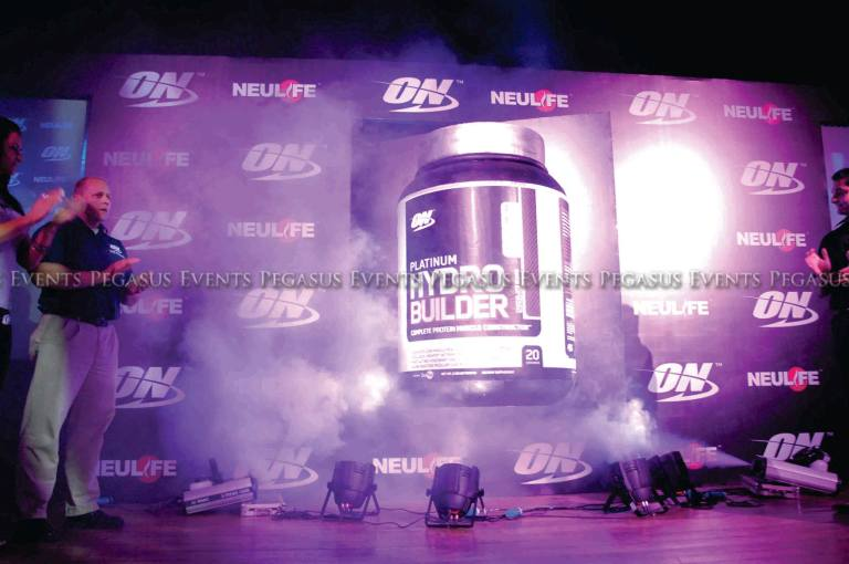 A motorized stage system was used to  launch a health supplement by Pegasus Events Pvt Ltd.