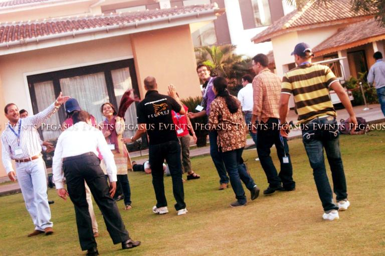 An offsite team building event being managed by Pegasus Events Pvt Ltd