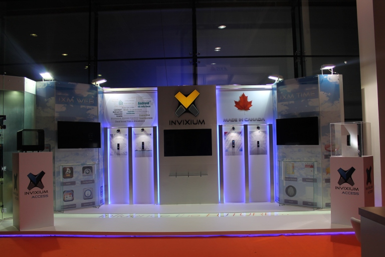 A trade show booth at the Intersec Dubai designed and executed by Pegasus Events Pvt Ltd